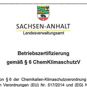 Zertifizierung gem. §6 ChemKlimaschutzV